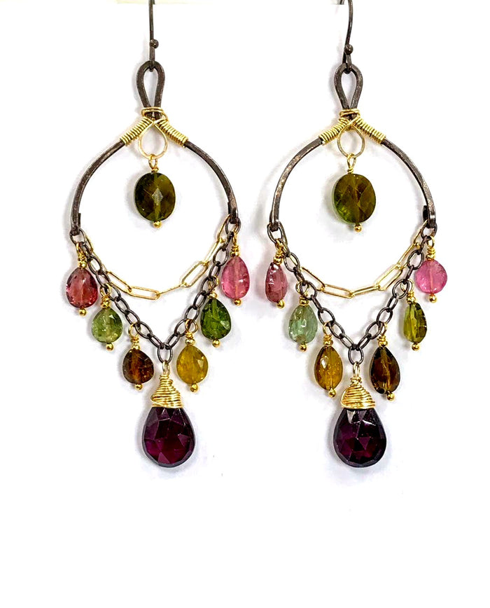 Oxidized Silver Mixed Metal Watermelon Tourmaline & Garnet Earrings - doolittlejewelry