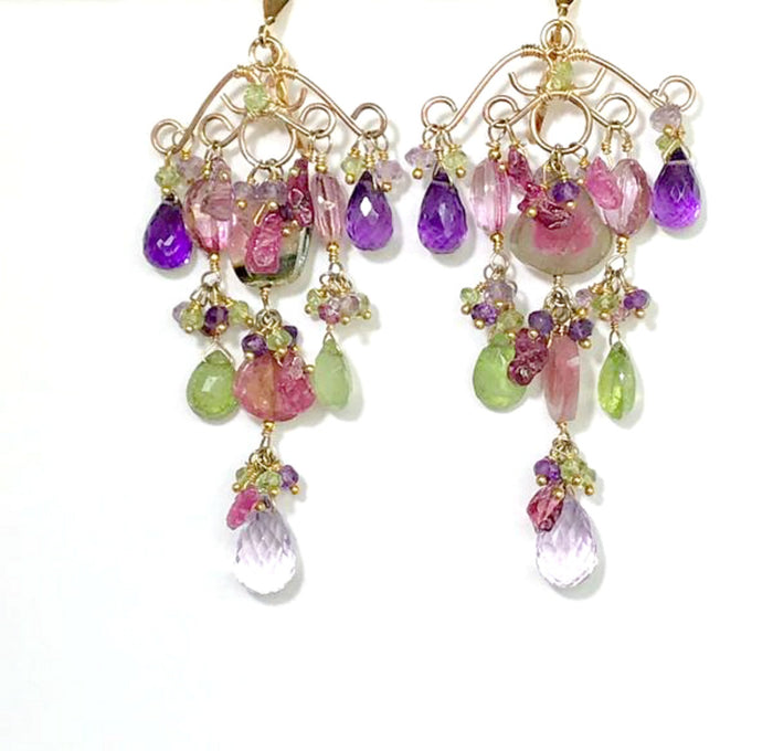 Amethyst Watermelon Tourmaline Luxury Gemstone Earring - doolittlejewelry