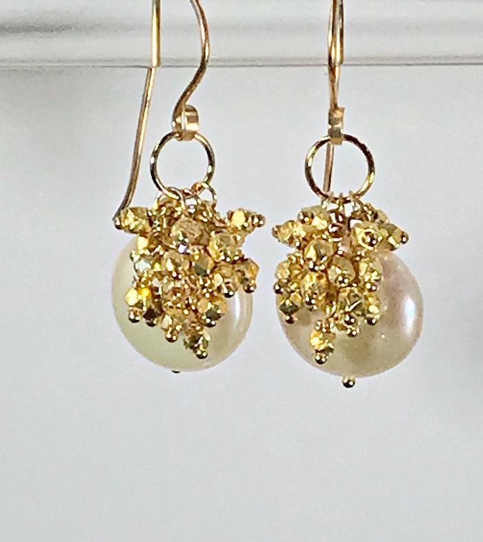 Ivory Coin Pearl Earrings with Gold Nugget Clusters - doolittlejewelry