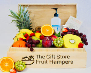 Hand crafted here in WA our signature timber fruit hamper box brimming with fresh seasonal fruit - a truely delightful gift to send or receive. It makes an ideal thoughtful, beautiful and healthy gift to show someone how much you care and how much you are thinking of them at this difficult time. Includes care items: to… Product availability  Manage Available on 4 of 4 channels and apps Online Store  Point of Sale Google Shopping Google Shopping has noticed your shipping settings changed. These settings aren