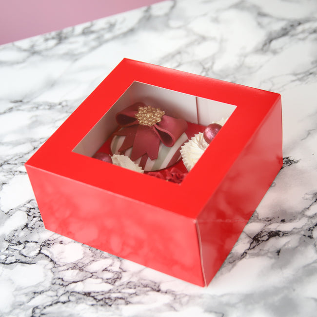 Red  Cupcake box for 4 Cupcakes