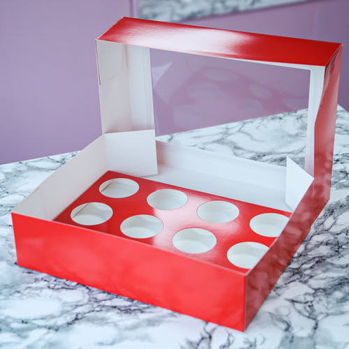 Sugar Sisters Cupcake Box - Red  (12s)