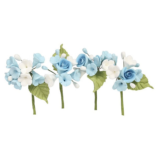 House of cake - 4 Mini Sugar Flower Sprays Blue