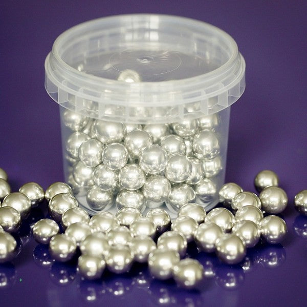 Purple Cupcakes 100g Silver Dragees Balls 10mm