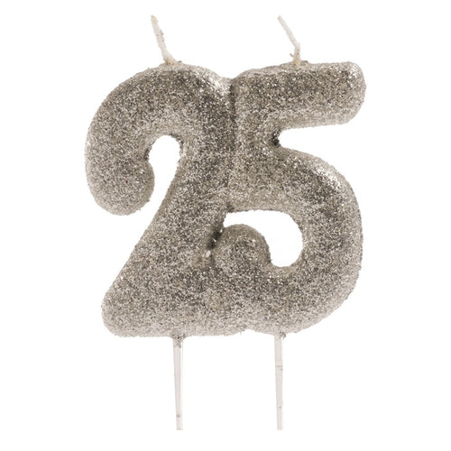 Silver  Glitter 25th Candle