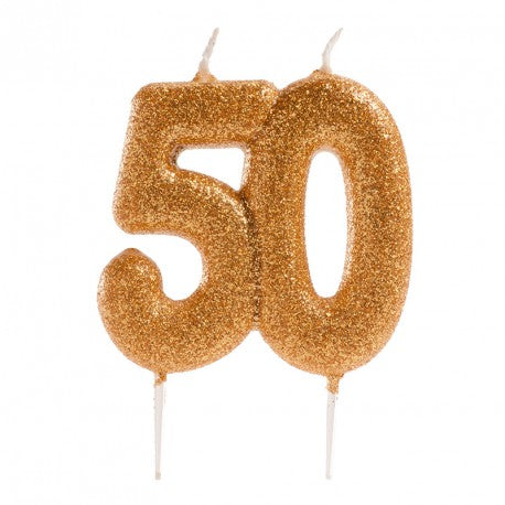 Gold Glitter 50th Candle