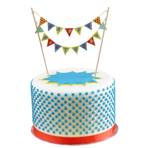 Pop Art Happy Birthday Cake Bunting