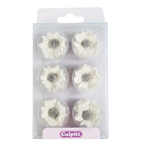 Anemones White   Sugar Decorations Pk 12