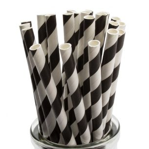 BLACK STRIPE  Straws Pk 25