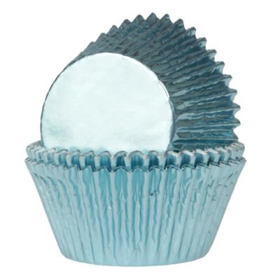 Baby Blue Foil Cupcake Cases Pk 24