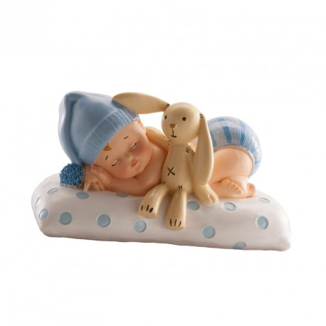Baby Boy with Teddy on Cushion