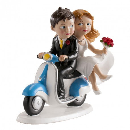 Bride and Groom on Moped 15cm  Dekora