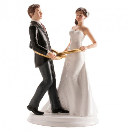 Bride and Groom with Wedding Rings  20cm Dekora