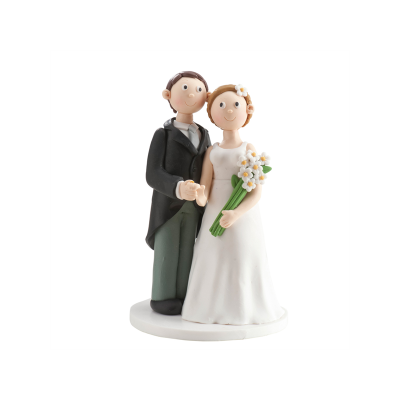 Wedding Couple Ornament White Flowers
