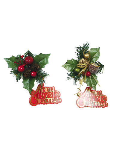 Holly & Plaque Red Berries/Gold Ribbon