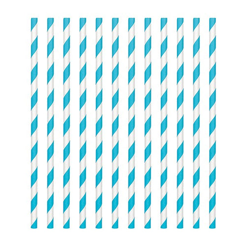 Caribbean Blue  Candy Stripe Straws Pk 24