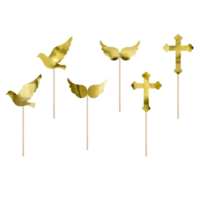 Gold Communion Cupcake Card Toppers