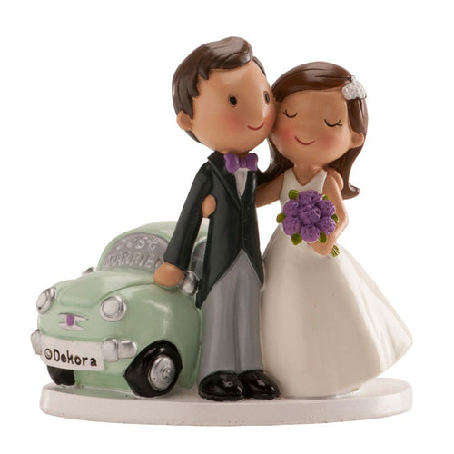 Cute Wedding Couple with Car 12cm