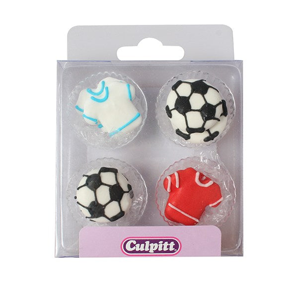 Soccer/ Football Ball and Shirt Sugar Decs 12 Pcs