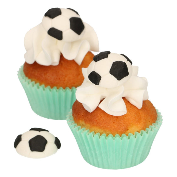 Soccer/ Football  Sugar Decorations 8 Pcs  FunCakes