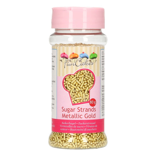 FunCakes Gold Sugar Strands 80g