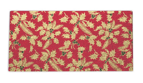 "Gold Holly Log Cards 8"" x 4"""