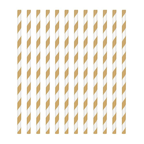 Gold Candy Stripe Straws Pk 24