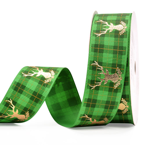 Green Check with Gold Deer 25mm Ribbon per Metre