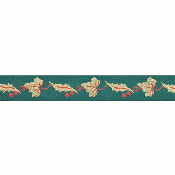 Green Ribbon with Gold Holly Leaves 24mm