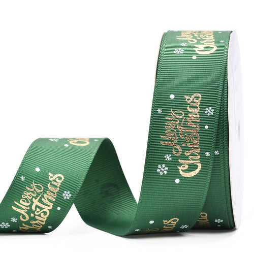 Green with Gold Foil Merry Christmas 25mm Ribbon per Metre