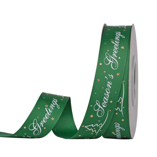 Green with White Seasons Greetings 25mm  Ribbon per Metre