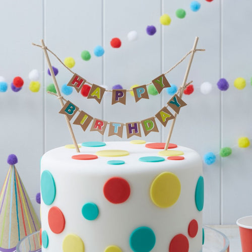 Colourful Happy Birthday Cake Bunting
