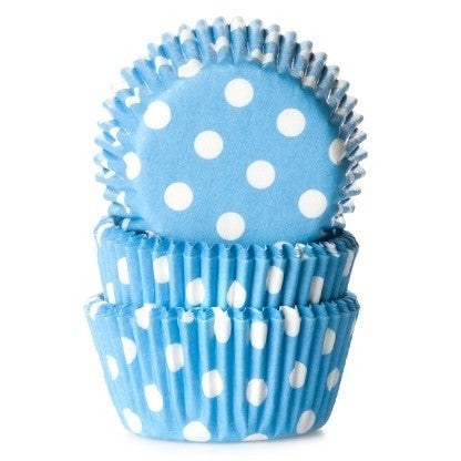 Mini Cupcake Cases 60pk Blue Polka