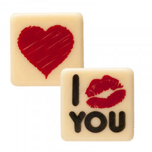 Heart and Lips White Chocolate Squares Pk 135