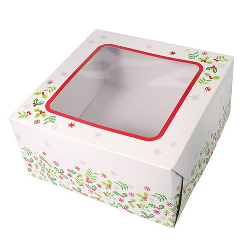 Holly Christmas Square Box 8""