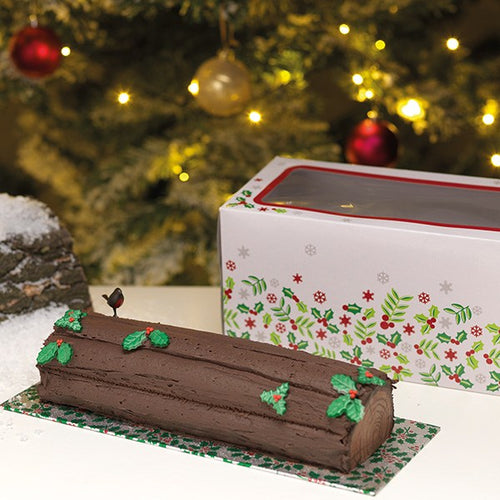 Holly Log Box & Card Combo 12""