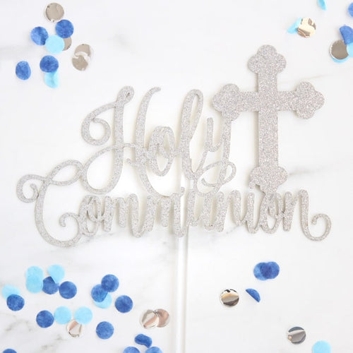 Holy Communion  Silver Card Topper