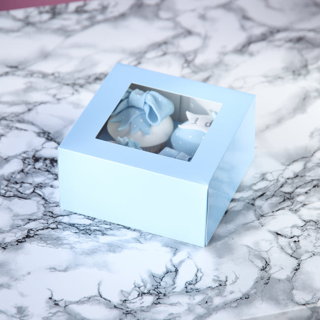 Baby Blue Cupcake box for 4 Cupcakes