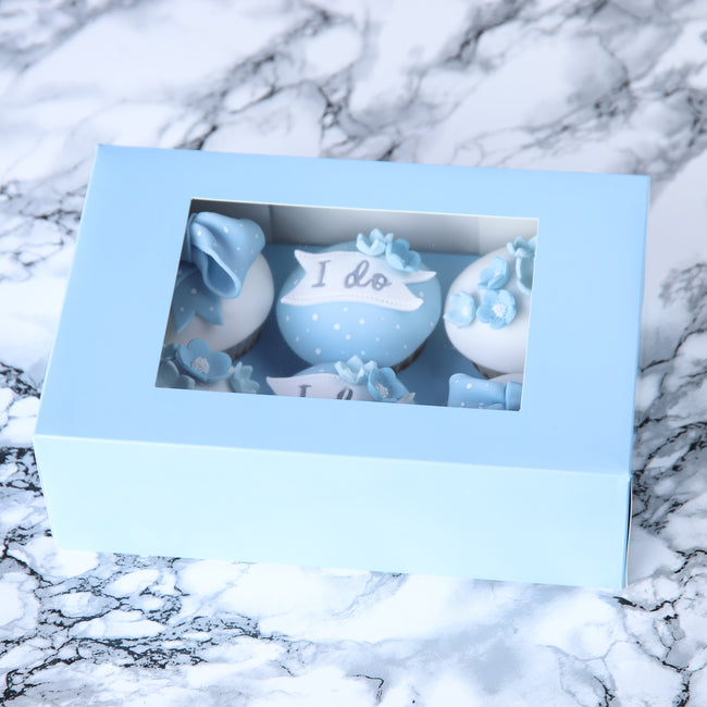 Baby Blue Cupcake box for 6 Cupcakes