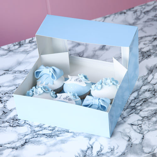 Sugar Sisters Cupcake Box - Baby Blue (6 Cavity)