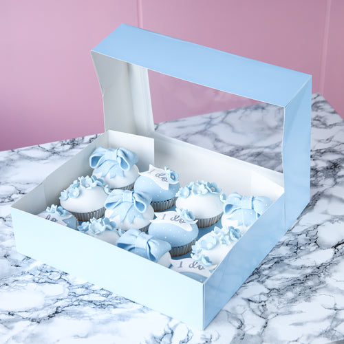 Baby Blue Cupcake box for 12 Cupcakes