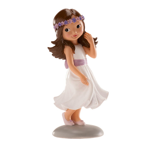 Communion Girl with Lavender Flowers 15cm