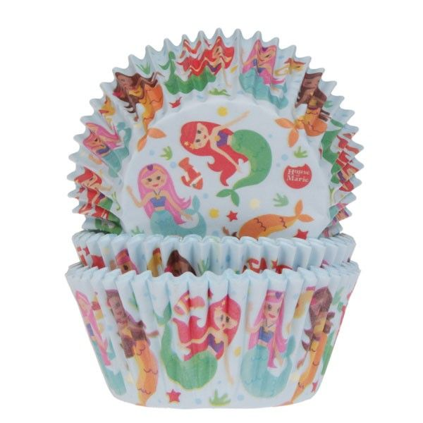 Mermaid Cup Cake Cases Pk 50 HOUSE OF MARIE