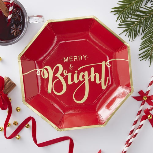 Merry and Bright Red  Christmas Plates