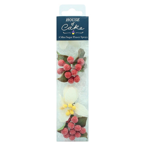 Mini White  Poinsettia Flower Spray with Berries