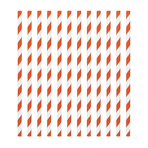 Orange Candy Stripe Straws Pk 24