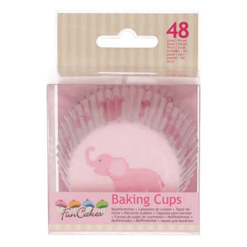 Pink Elephant Baking Cup Pk 48