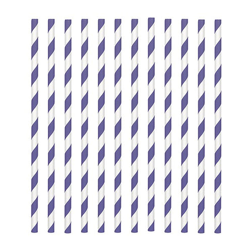 Purple Candy Stripe Straws Pk 24