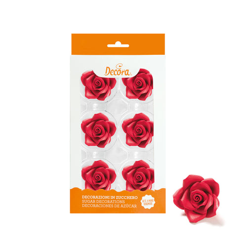 Red  Large Rose Set 6 5cm