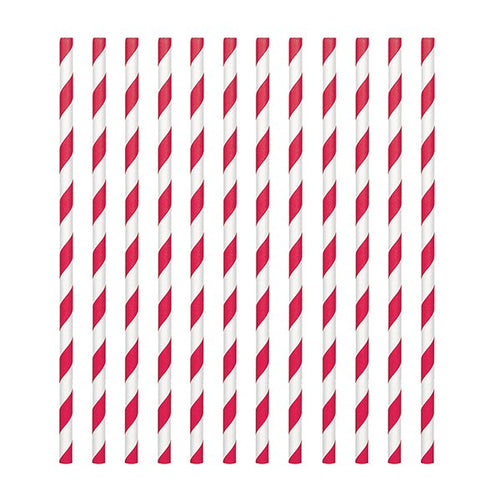 Red Candy Stripe Straws Pk 24